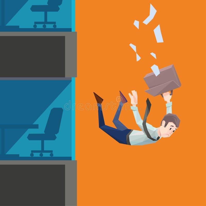 Mann in der Büroabnutzung fällt von einem Gebäude vektor abbildung