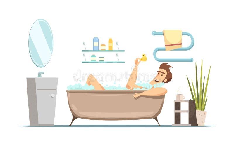 Mann, der Bad im Badezimmer nimmt lizenzfreie abbildung