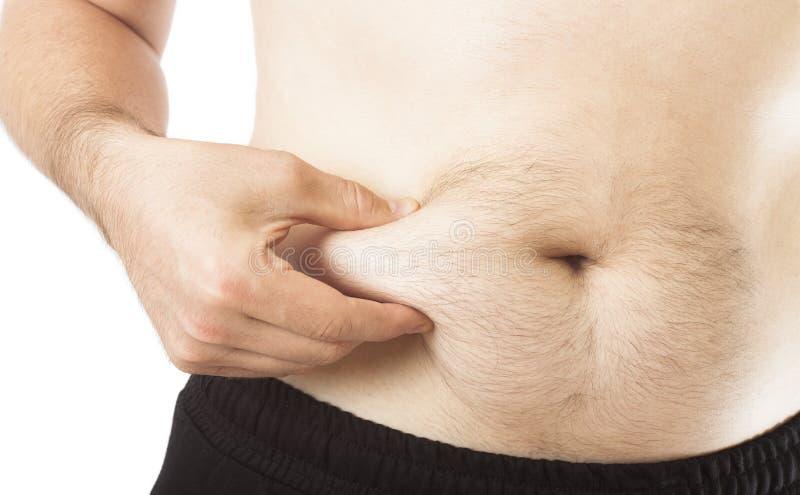 Mann, der Bauch fett hält lizenzfreie stockfotografie