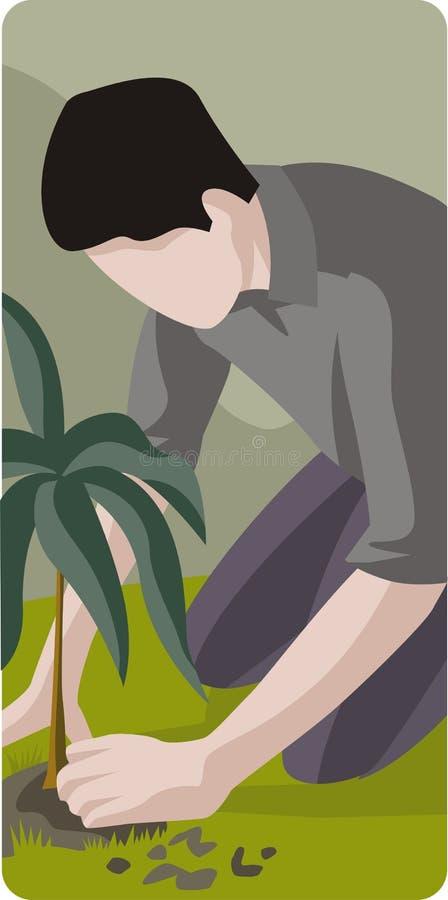 Mann, der Baum pflanzt lizenzfreie abbildung