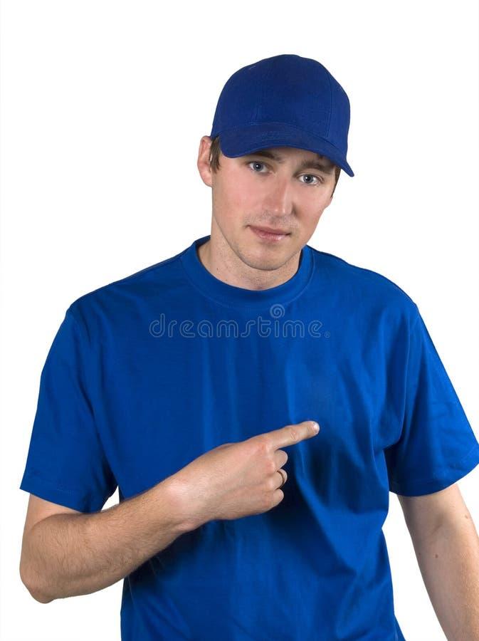 Mann in der blauen Uniform lizenzfreie stockbilder