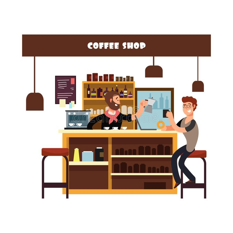 Mann, der in der Cafévektorillustration arbeitet lizenzfreie abbildung