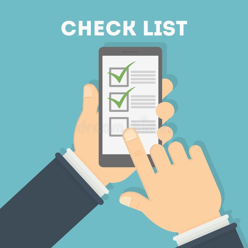 Mann, der Checklisten-APP verwendet lizenzfreie abbildung