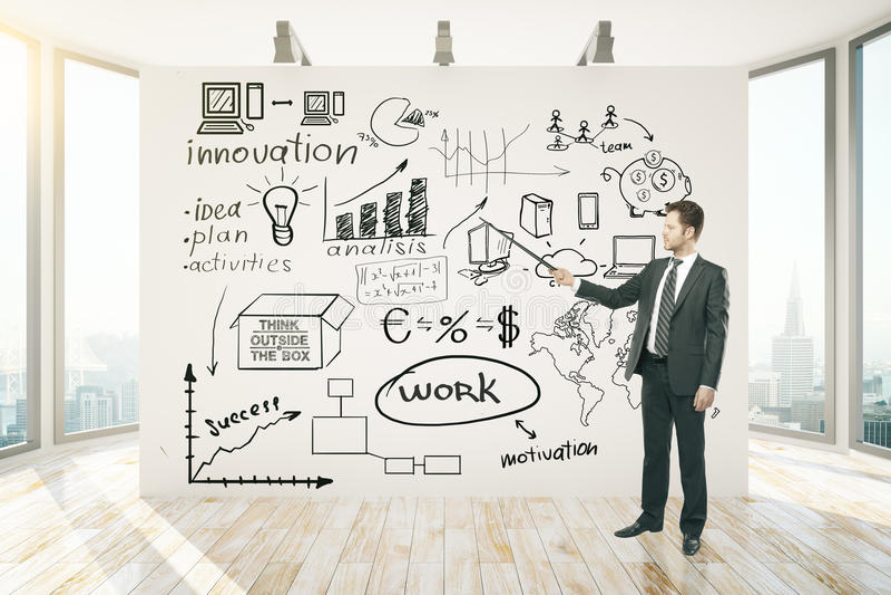 Mann, der Darstellung auf Geschäft liefert vektor abbildung