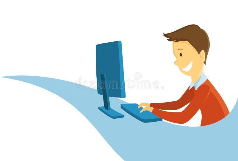 Mann, der an dem Computer arbeitet lizenzfreie abbildung