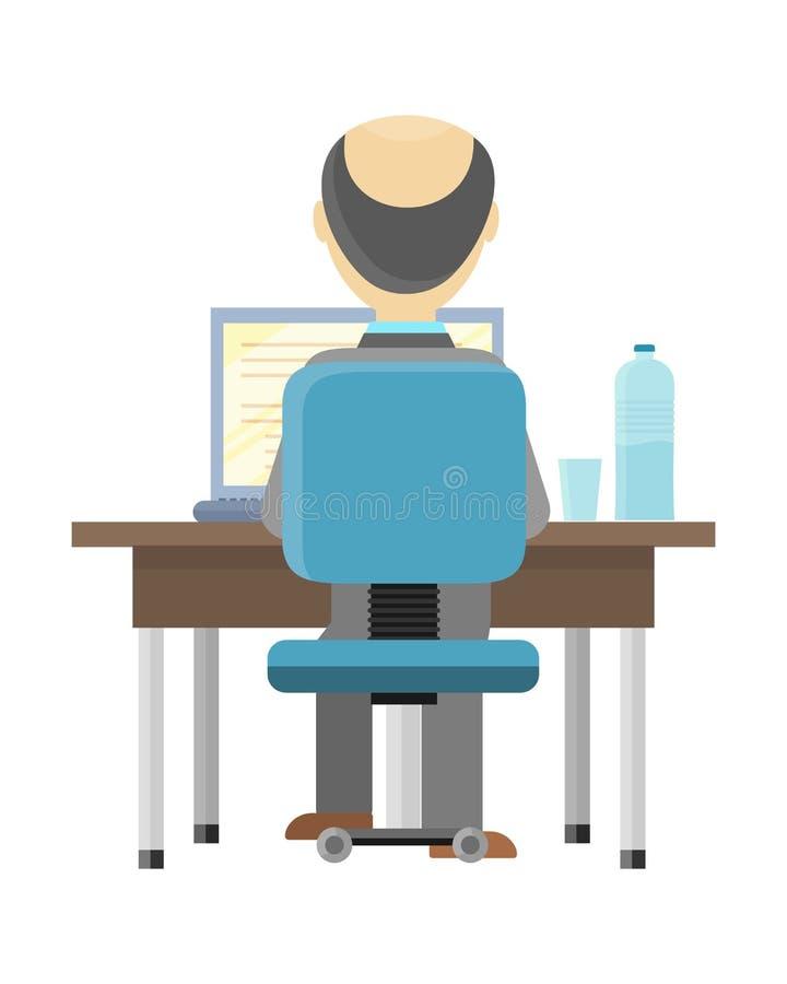 Mann, der an dem Computer arbeitet vektor abbildung