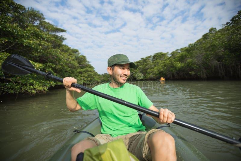 Mann, der den Fluss Kayak fährt durch Mangrove jungl genießt stockfoto