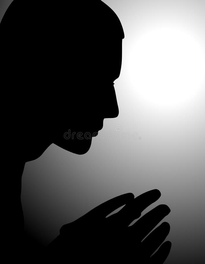 Mann, der in der Einsamkeit und in den Schatten betet lizenzfreie abbildung