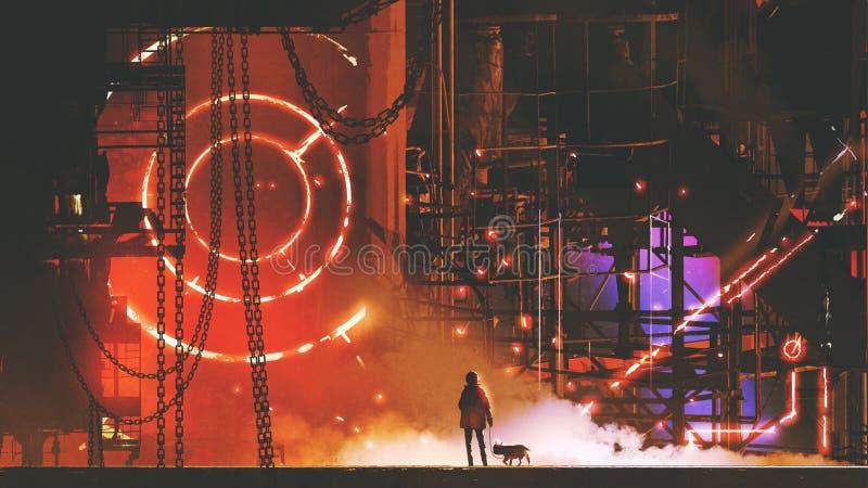 Mann, der die futuristische Fabrik betrachtet vektor abbildung