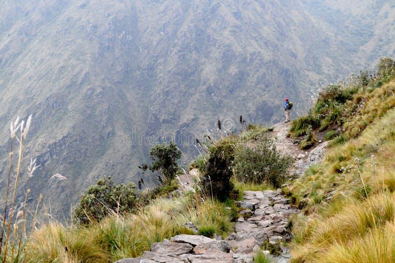 Mann, der die schöne Landschaft während auf Wanderweg genießt stockfotos