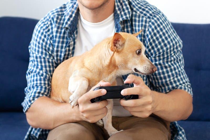 Mann, der die seinen Hund, liebende Bindung der nahen Freundschaft zwischen Eigentümer und Liebe des Schoßhunds sich anschmiegt u stockfotografie