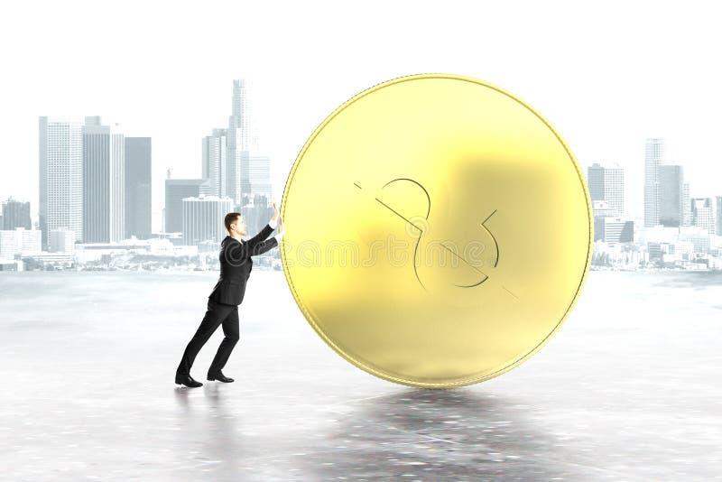 Mann, der Dollarmünze drückt stockbilder