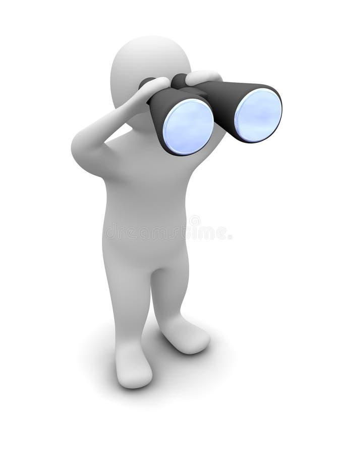 Mann, der durch Binokel schaut vektor abbildung