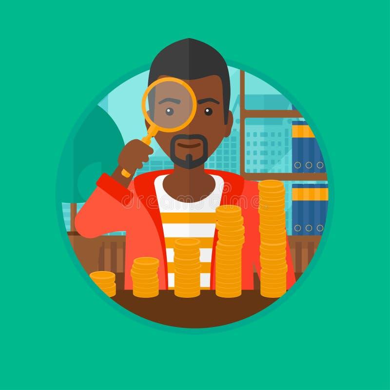 Mann, der durch Vergrößerungsglas Goldmünzen betrachtet lizenzfreie abbildung