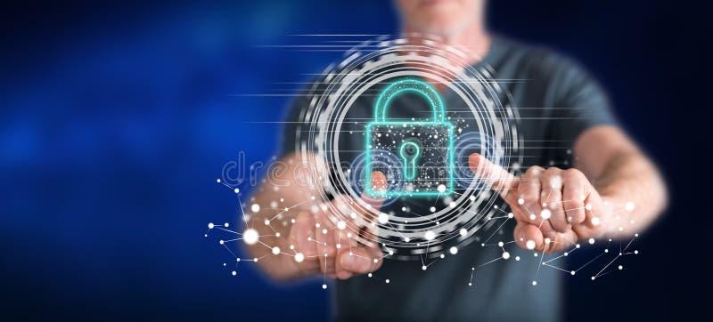 Mann, der ein digitales Sicherheitskonzept ber?hrt lizenzfreie stockfotografie