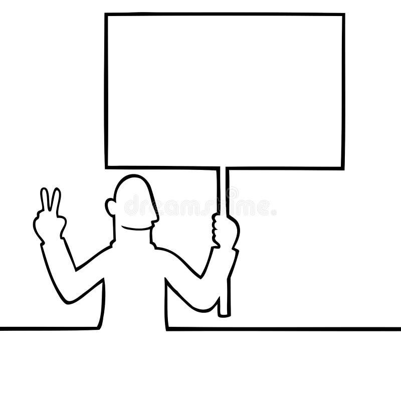 Mann, der ein Friedensprotestzeichen anhält vektor abbildung