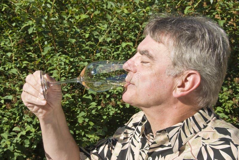 Mann, der ein Glas weißen Wein trinkt lizenzfreies stockbild