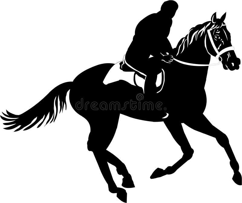 Mann, der ein Pferd reitet lizenzfreie abbildung