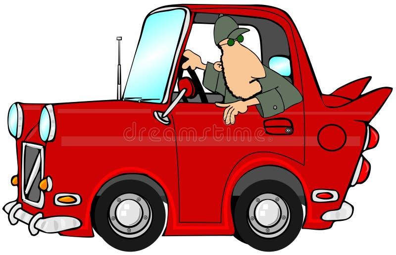 Mann, der ein rotes Auto unterstützt lizenzfreie abbildung