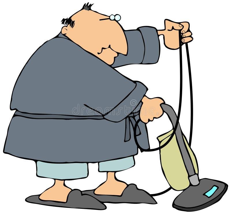 Mann, der ein Vakuum verwendet lizenzfreie abbildung