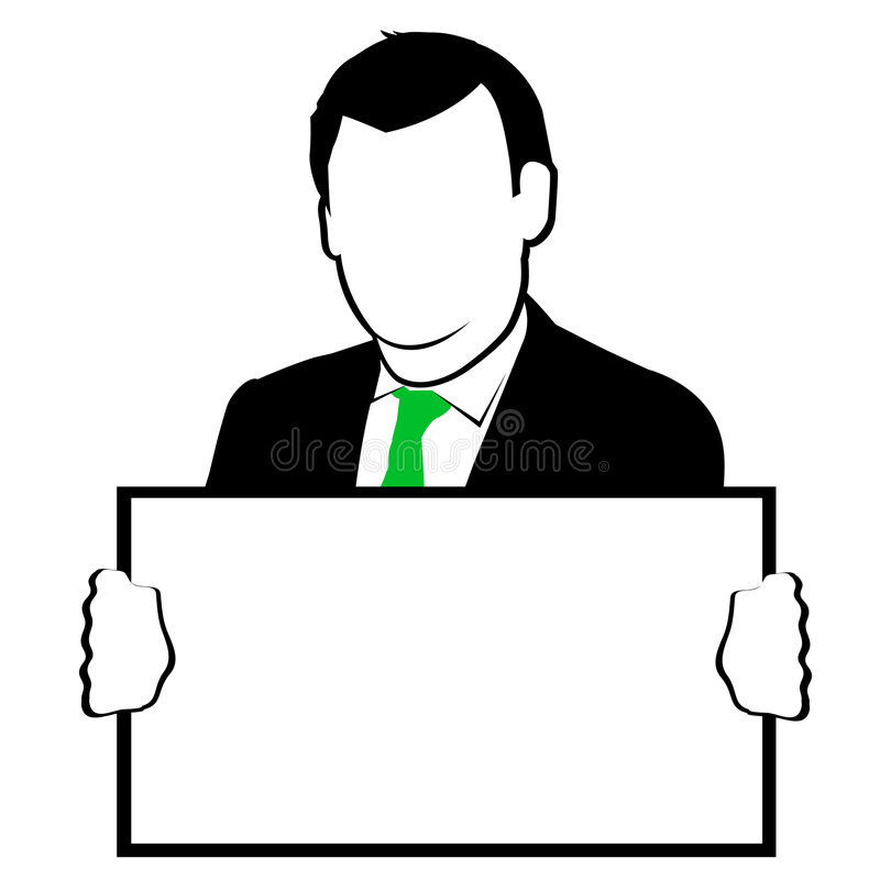 Mann, der ein Zeichen anhält lizenzfreie abbildung