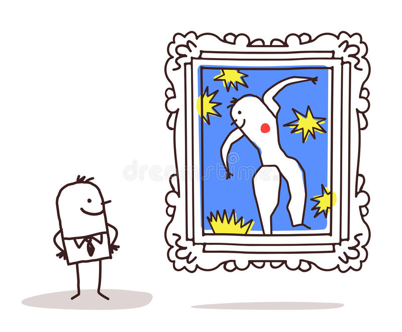 Mann, der eine berühmte Malerei aufpasst lizenzfreie abbildung
