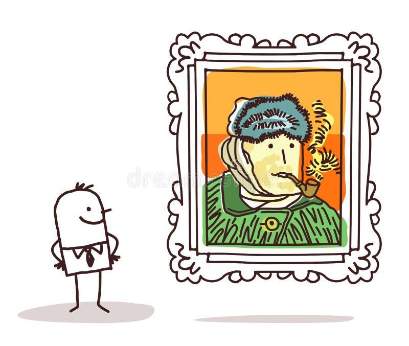 Mann, der eine berühmte Malerei aufpasst stock abbildung