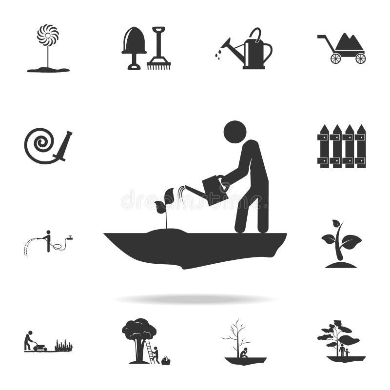 Mann, der eine Betriebsikone wässert Ausführlicher Satz Gartenwerkzeuge und Landwirtschaftsikonen Erstklassiges Qualitätsgrafikde vektor abbildung