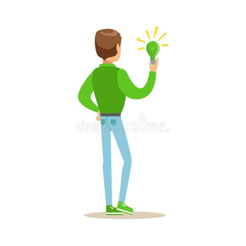 Mann, der eine grüne Energie-Lampe, tragend in Umwelt-Bewahrung durch die Anwendung der umweltfreundlichen Weisen-Illustration hä lizenzfreie abbildung