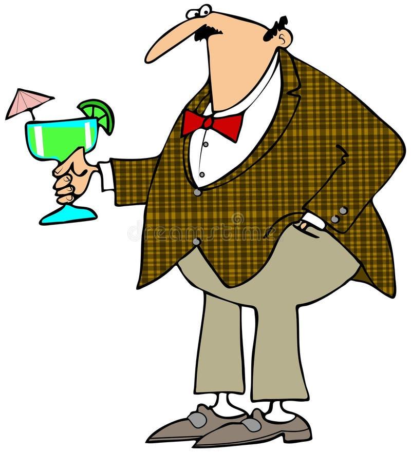 Mann, der eine Margarita anhält lizenzfreie abbildung
