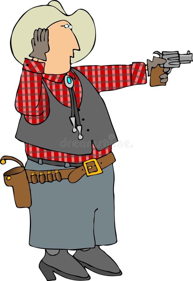 Mann, der eine Pistole schießt lizenzfreie abbildung