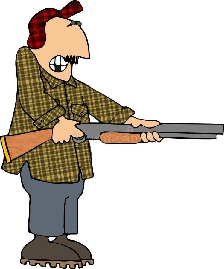 Mann, der eine Schrotflinte schießt lizenzfreie abbildung