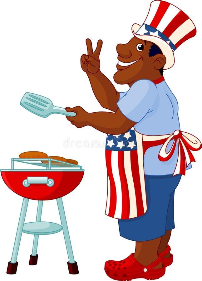 Mann, der einen Hamburger kocht lizenzfreie abbildung