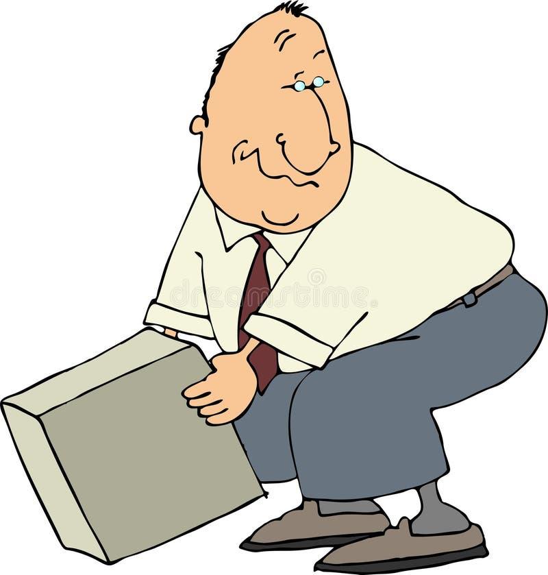 Mann, der einen Kasten aufhebt lizenzfreie abbildung