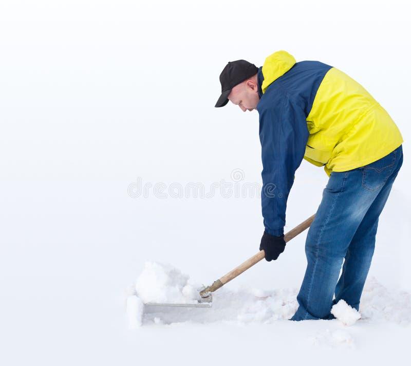 Mann, der einen Pfad gräbt stockfotografie