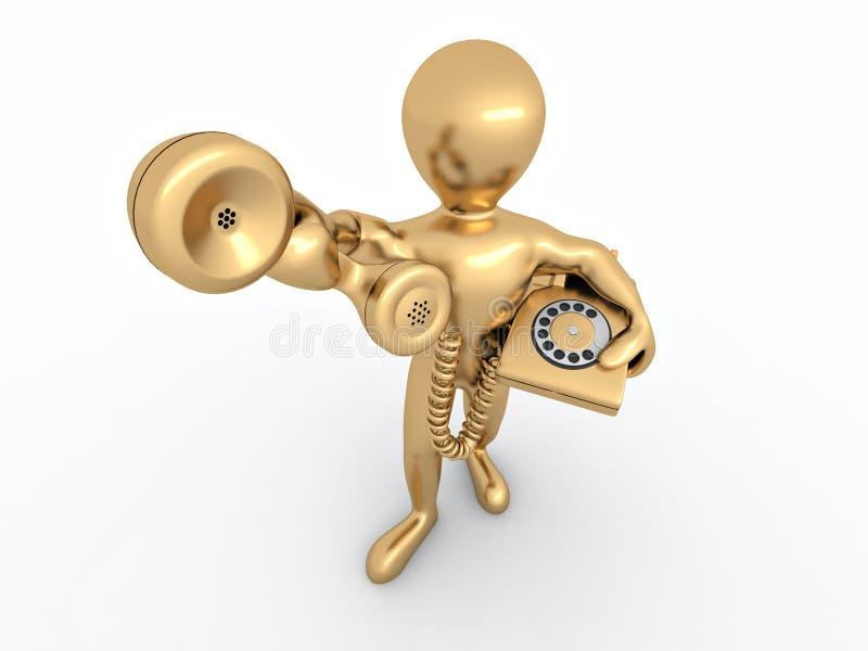 Mann, der einen Telefonempfänger anhält lizenzfreie abbildung