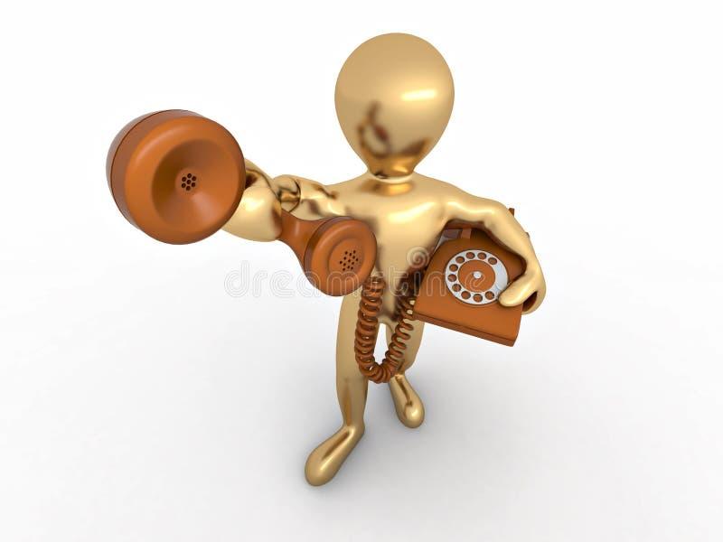 Mann, der einen Telefonempfänger anhält stock abbildung