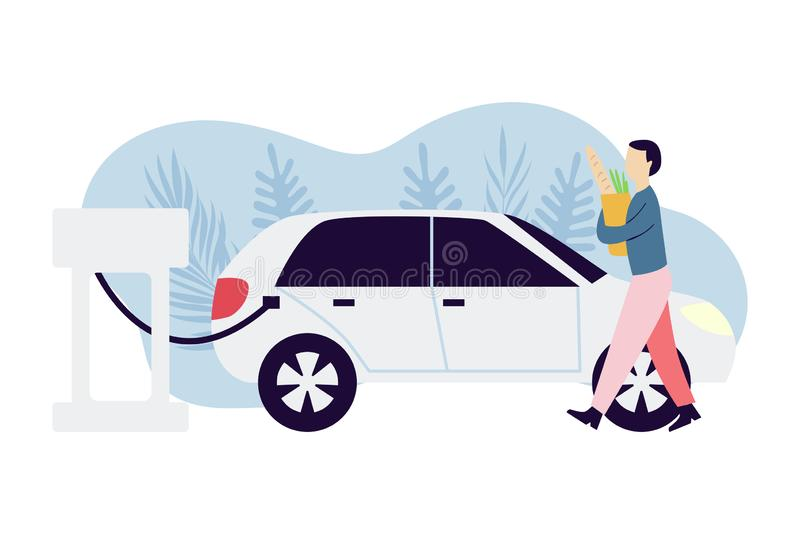 Mann, der elektrisches Auto aufl?dt Mann mit Einkaufst?te ?kologieschutzkonzept Alternative Transportidee vektor abbildung
