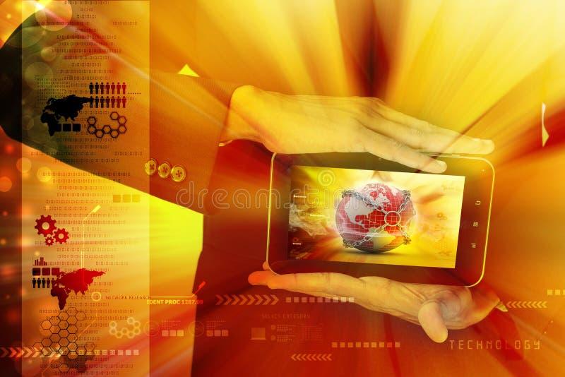 Mann, der Erdkugelabschluß in der Kette im Tablet-Computer zeigt lizenzfreies stockfoto