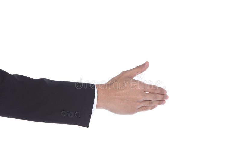 Mann der Erschütterungs-Hand eine, der fungiert, um mit anderer Seitenansicht zu tun lizenzfreies stockfoto
