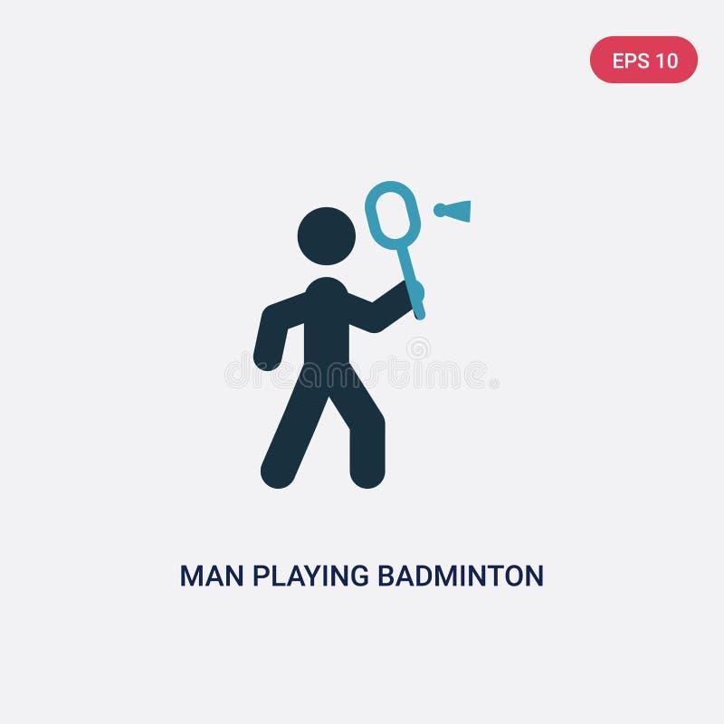 Mann der Farbe zwei, der Badmintonvektorikone vom Sportkonzept spielt der lokalisierte blaue Mann, der Badmintonvektor-Zeichensym lizenzfreie abbildung