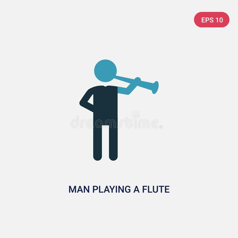Mann der Farbe zwei, der eine Flötenvektorikone vom Leutekonzept spielt der lokalisierte blaue Mann, der ein Flötenvektor-Zeichen lizenzfreie abbildung