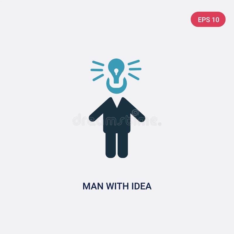 Mann der Farbe zwei mit Ideenvektorikone vom Leutekonzept lokalisierter blauer Mann mit Ideenvektor-Zeichensymbol kann Gebrauch f vektor abbildung