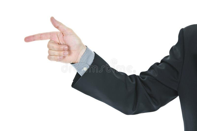 Mann, der Finger zeigt stockbild