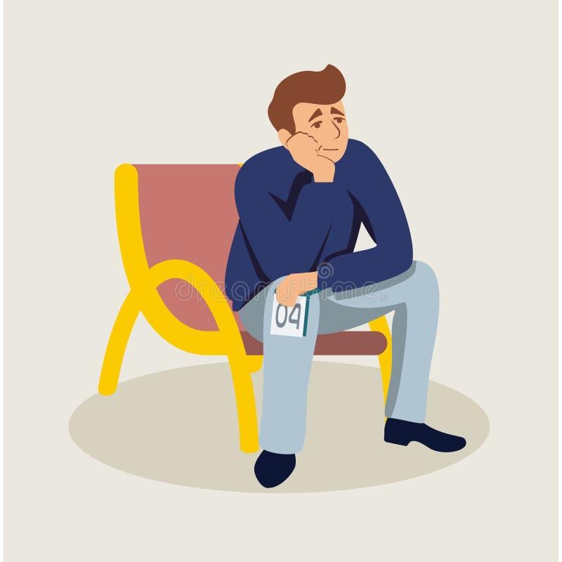 Mann, der in flache Illustration der Reihe wartet stock abbildung