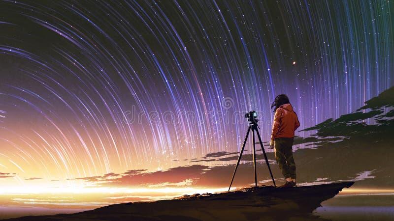 Mann, der Foto des Sonnenaufganghimmels macht stock abbildung