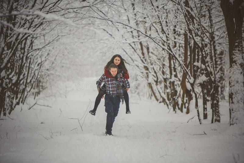 Mann, der Frauendoppelpolfahrt auf Winterferien im schneebedeckten Wald gibt lizenzfreie stockfotos