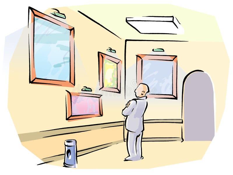 Mann in der Galerie stock abbildung