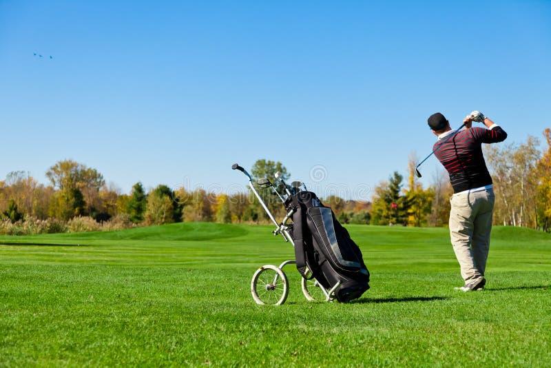 Mann, der Golf spielt lizenzfreie stockbilder
