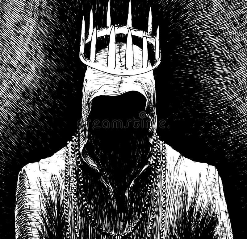 Mann in der Haube ohne Gesicht mit Krone lizenzfreie abbildung